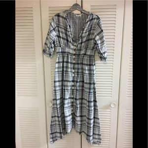 Free People CP Shade Plaid Midi Dress XS Blue